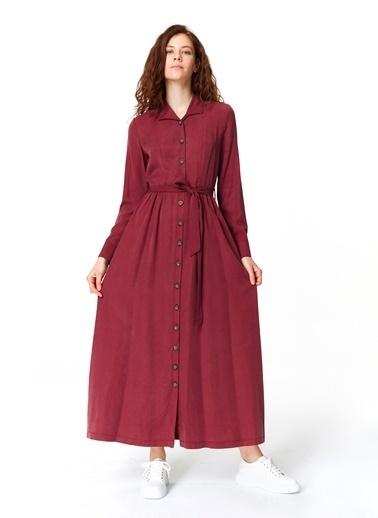 Mizalle Önü Patlı Elbise  Bordo